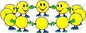 Happy faces dancing